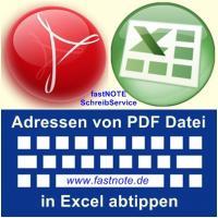 Adressen von PDF Datei in Excel abtippen