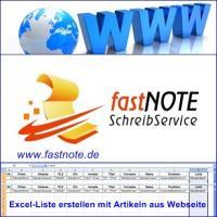Excel-Liste erstellen mit Artikeln aus Webseite