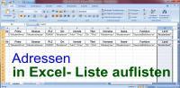 Adressen in Excel-Tabelle auflisten