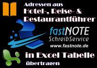 Adressen aus Hotel- und Restaurantführer in Excel