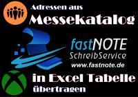 Adressen aus Messekatalog in Excel