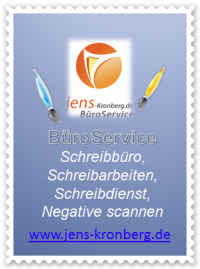 Büroservice Angebot Schreibbüro Schreibarbeiten Negative scannen