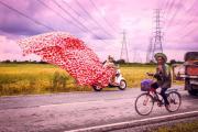 Mit bunten Tüchern auf Moped.jpg