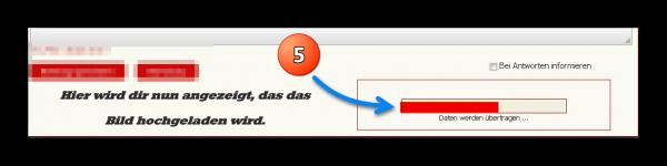 Punkt 5: Warten bis die Datei (Ladebalken) hochgeladen ist
