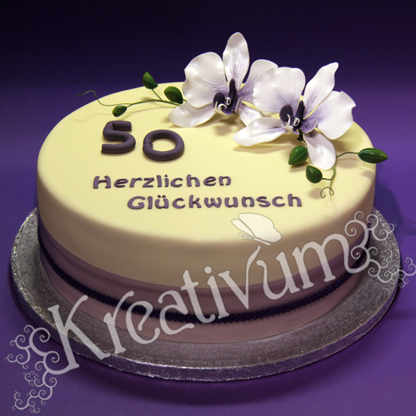 geburtstag erwachsene lila orchideen torte zum 50 geburtstag. Black Bedroom Furniture Sets. Home Design Ideas