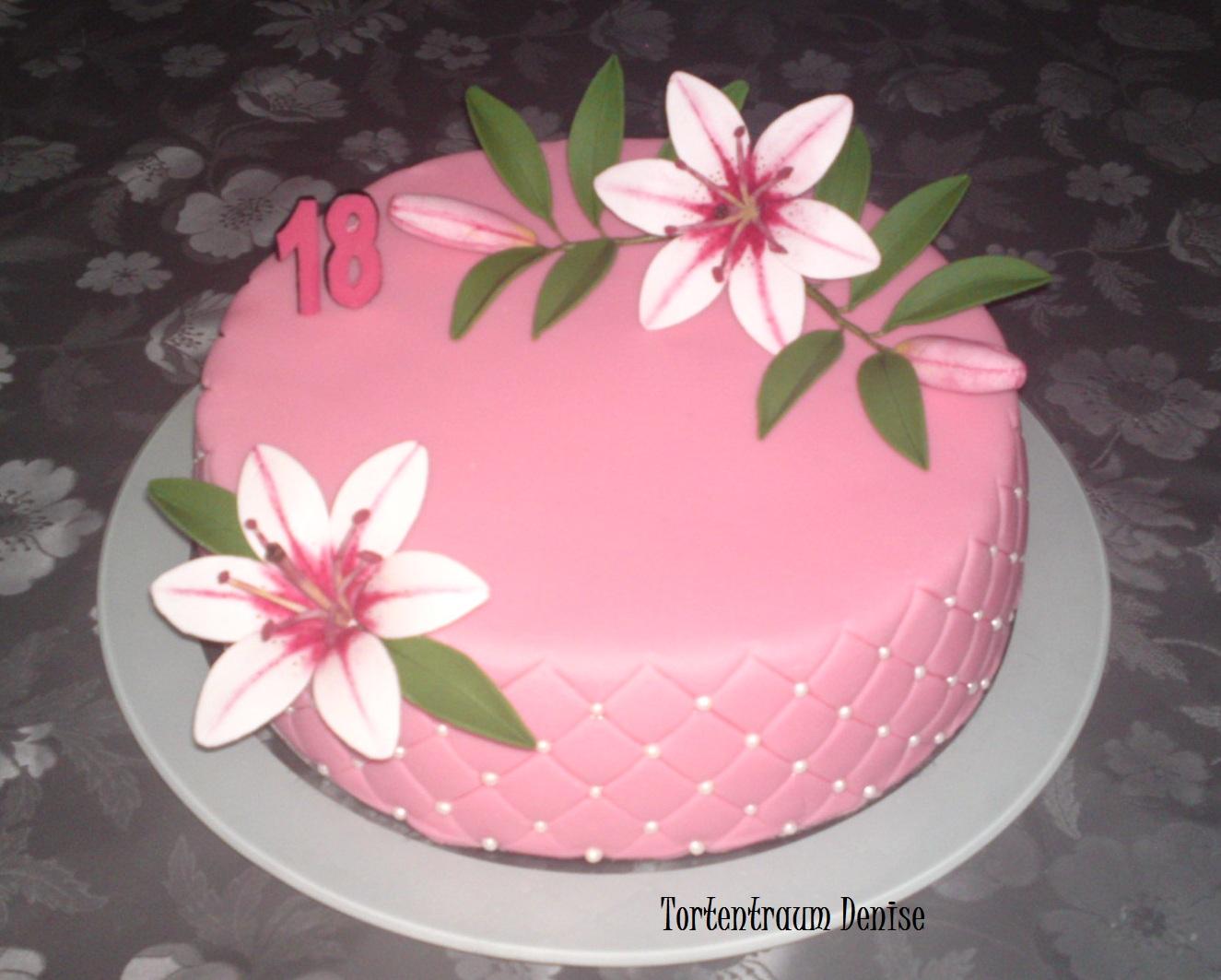 geburtstag erwachsene rosa lilientorte zum 18 geburtstag. Black Bedroom Furniture Sets. Home Design Ideas