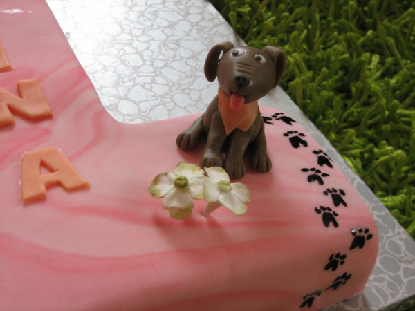 geburtstag kinder 1er torte rosa mit hund. Black Bedroom Furniture Sets. Home Design Ideas