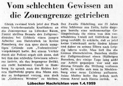 Zeitungsbericht VOM SCHLECHTEN GEWISSEN AN DIE ZONENGRENZE GETRIEBEN - Lübecker Nachrichten vom 1.4.1959.jpg