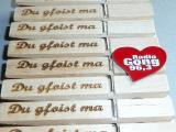 Gravierte Wäscheklammern, Werbeklammern Radio Gong, Glupperl, Glubbal